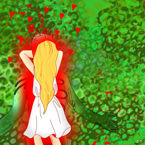 A young woman in a white dress with her back to camera, in front of a green bush with the outline of a green monster emerging from it
